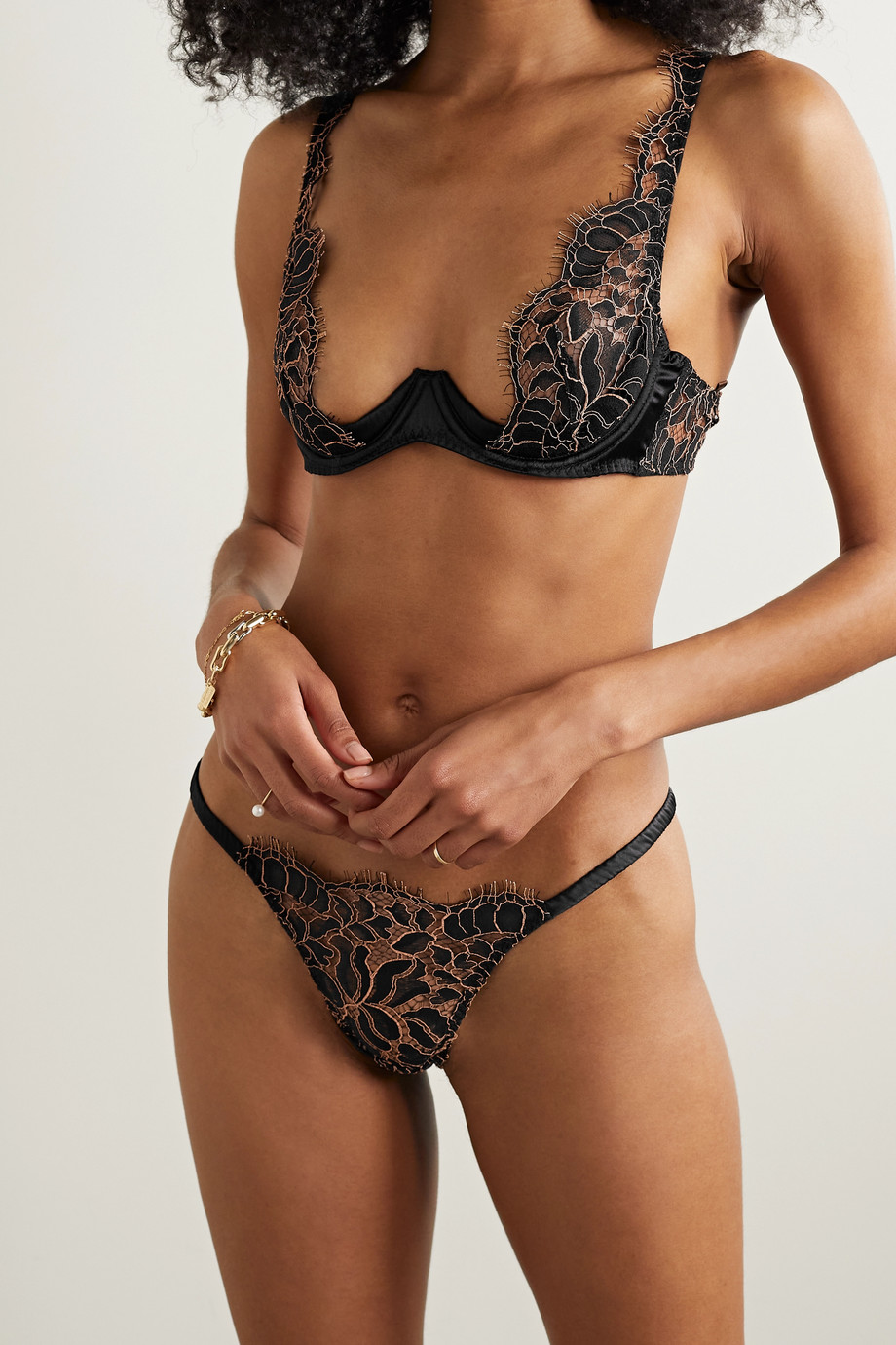 Coco de Mer Rivera satin-trimmed corded lace thong