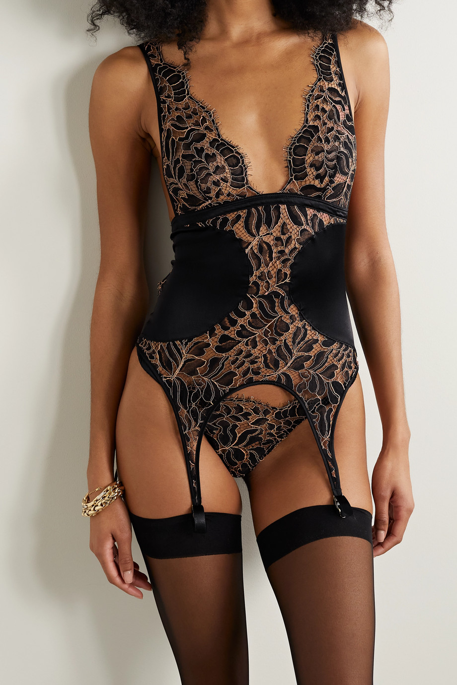 Coco de Mer Rivera cutout corded lace and satin camisole with suspenders