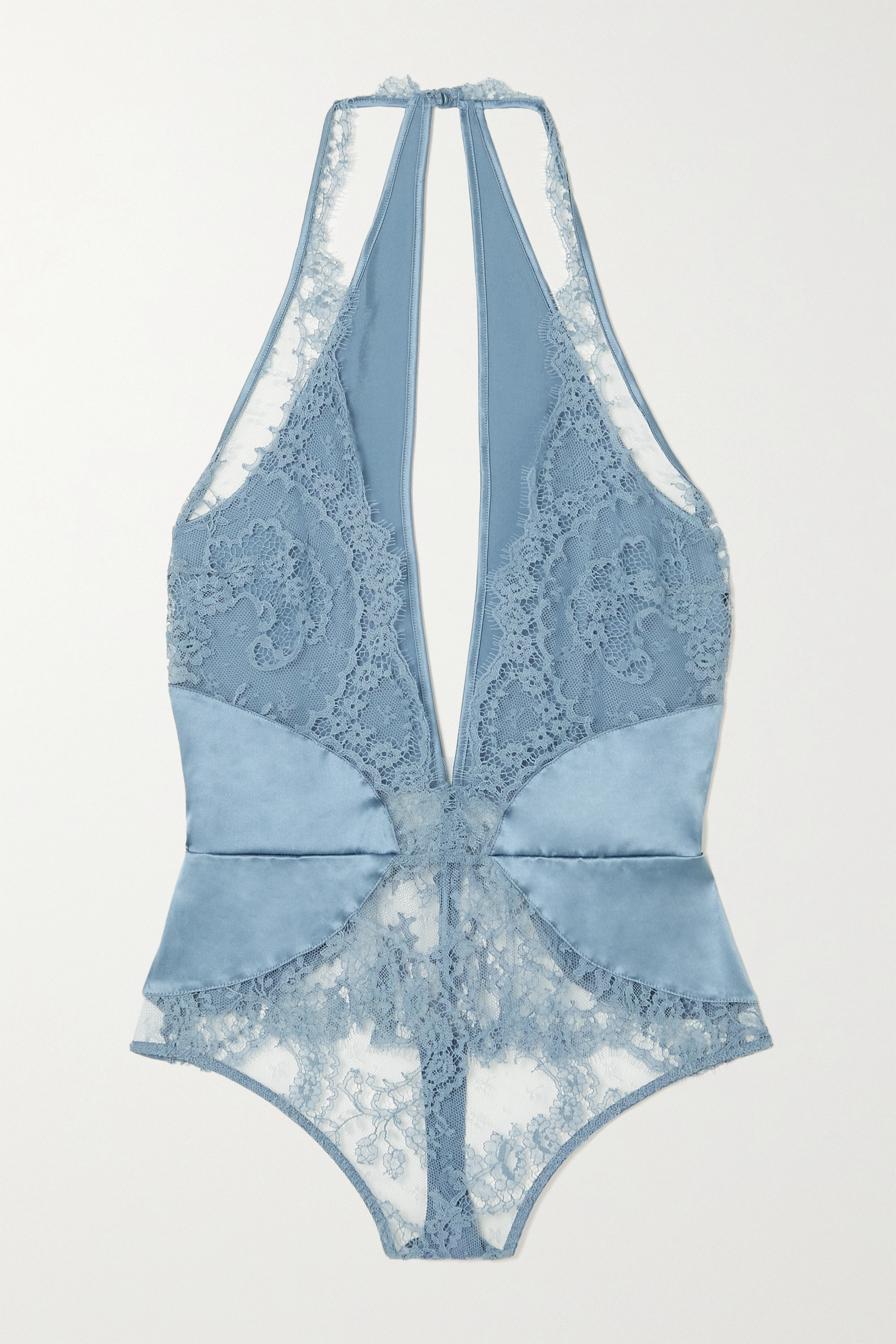 Coco de Mer Lucida cutout stretch-lace and satin thong bodysuit