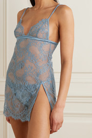 Coco de Mer Lucida satin-trimmed stretch-lace chemise