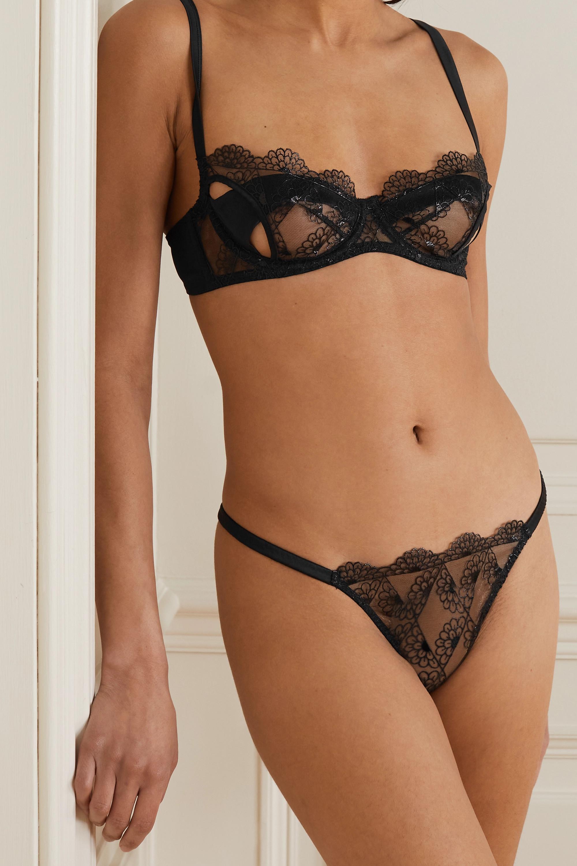 Coco de Mer Evita cutout scalloped lace and stretch-satin underwired balconette bra