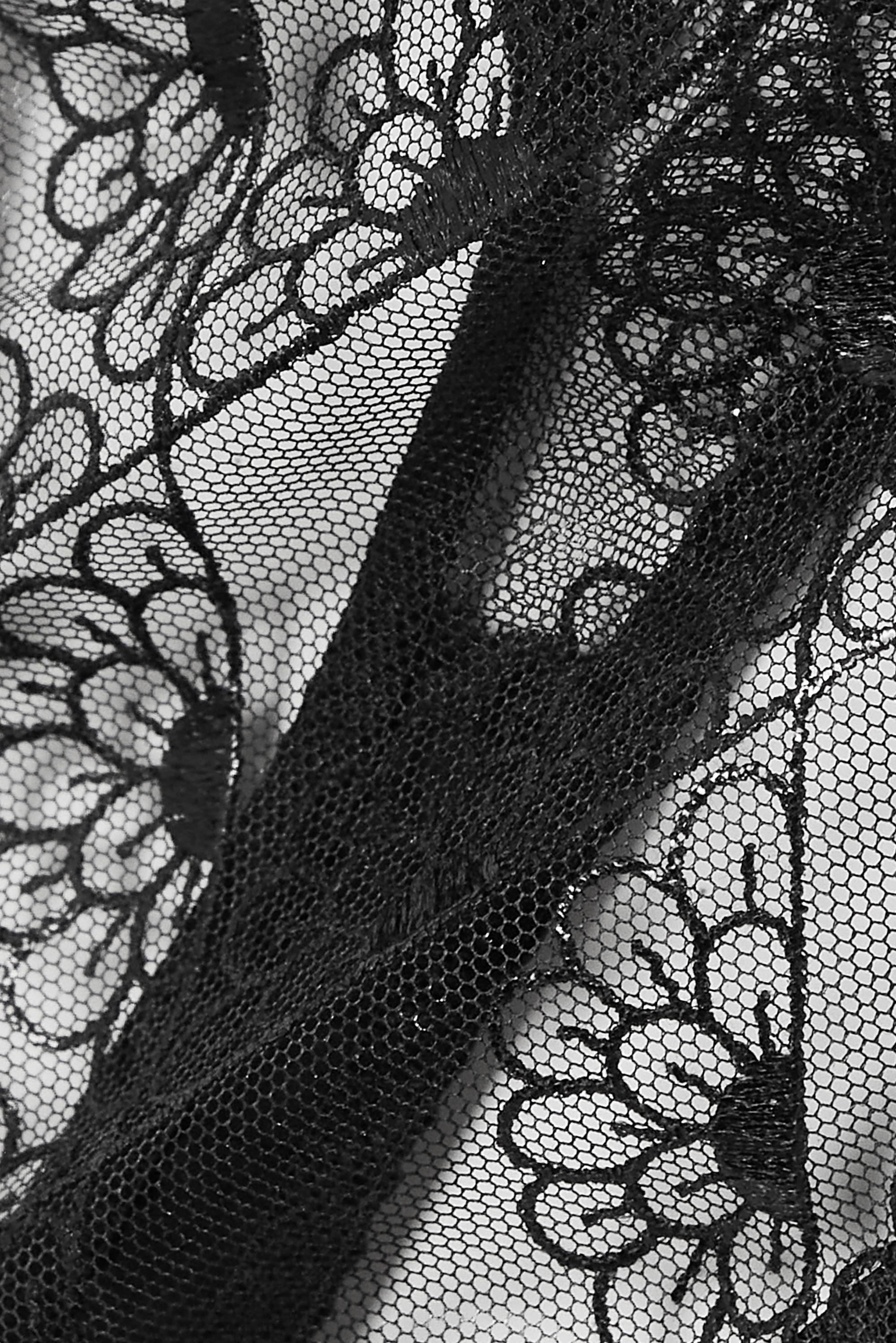 Coco de Mer Evita scalloped lace and stretch-satin thong