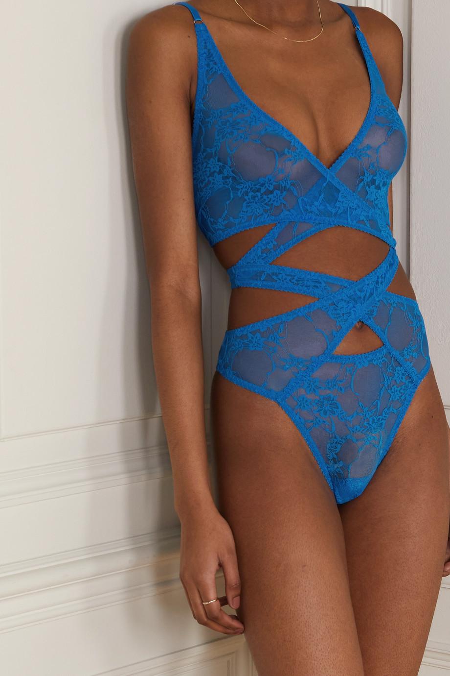 Coco de Mer Mae cutout stretch-lace thong bodysuit