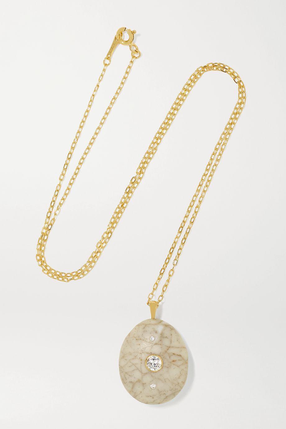 CVC Stones Network 18-karat gold, stone and diamond necklace