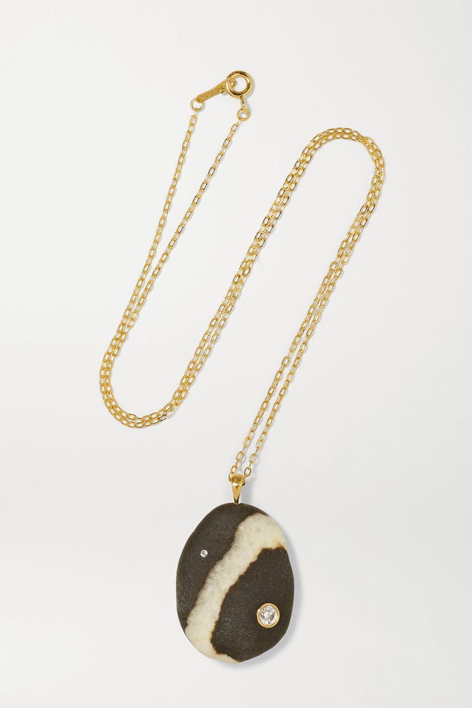 CVC Stones Neve 18-karat gold, stone and diamond necklace