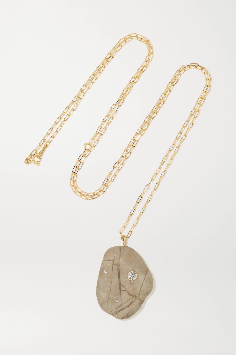 CVC Stones Buttermilk 18-karat gold, stone and diamond necklace