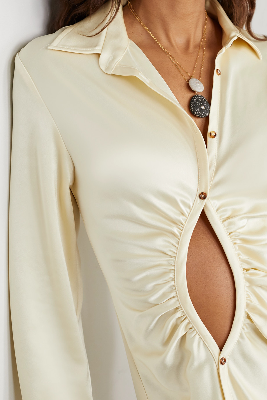 CVC Stones Focal 18-karat gold, stone and diamond necklace