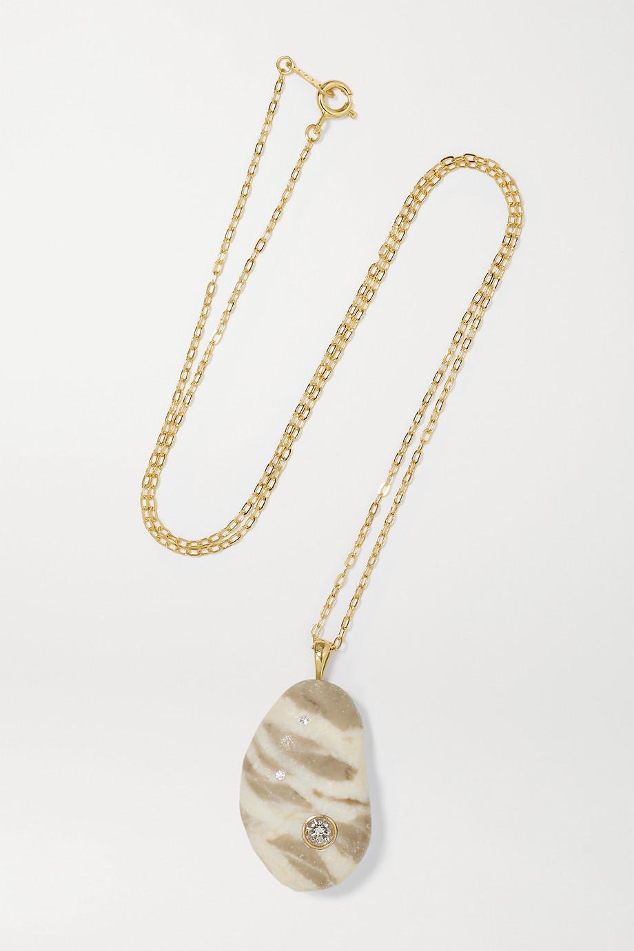 CVC Stones Cloak 18-karat gold, stone and diamond necklace