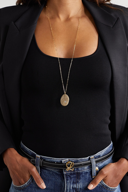 CVC Stones Binary 18-karat gold, stone and diamond necklace