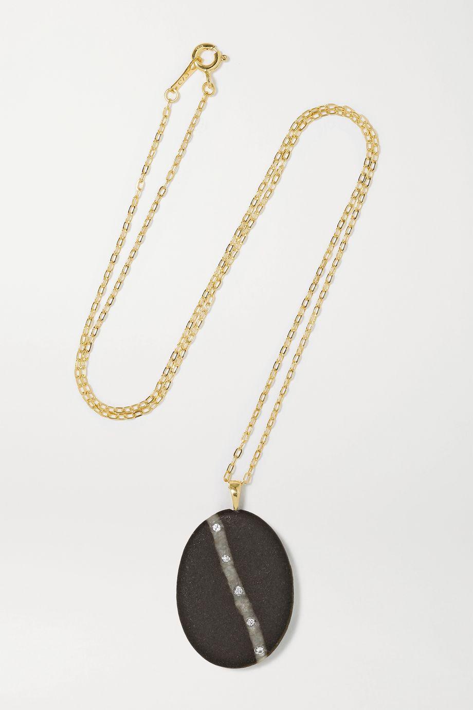 CVC Stones Diagonale 18-karat gold, stone and diamond necklace