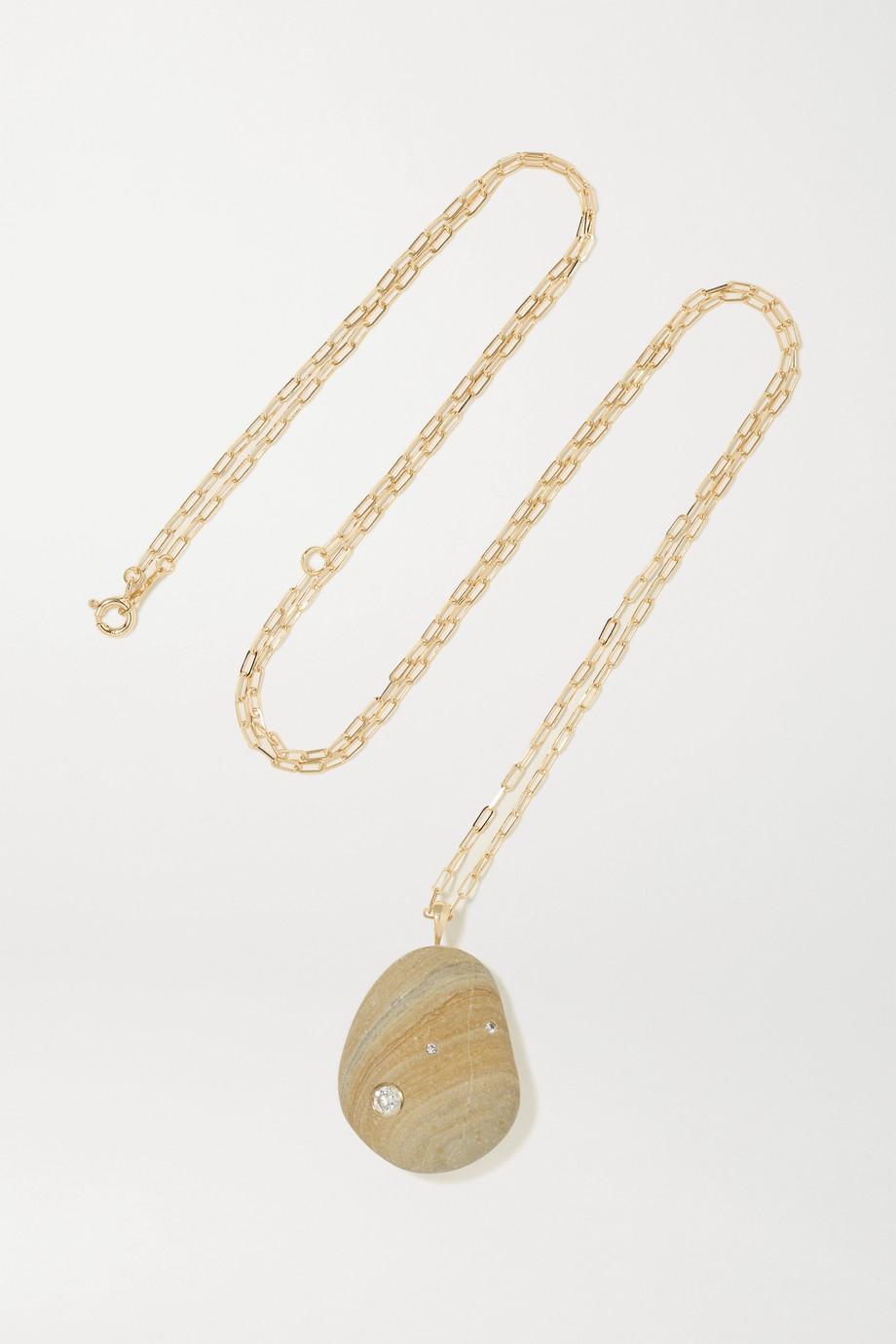 CVC Stones Gesture 18-karat gold, stone and diamond necklace