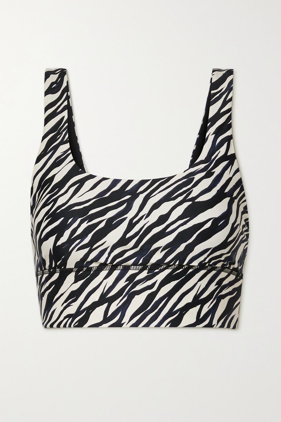 The Upside Nadiya zebra-print stretch sports bra