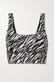 The Upside Nadiya zebra-print stretch sports bra