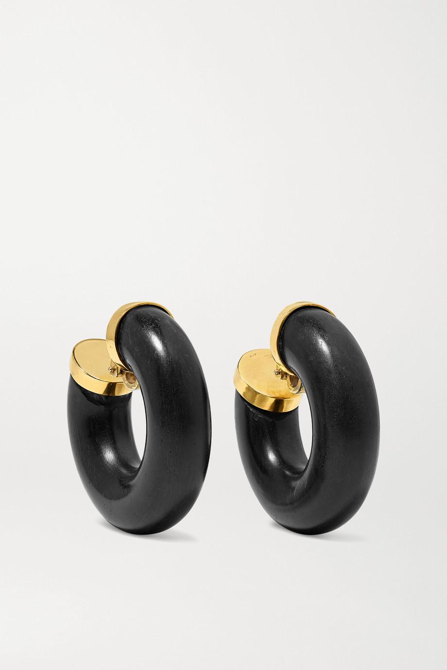 Fred Leighton 1970s 18-karat gold ebony clip earrings