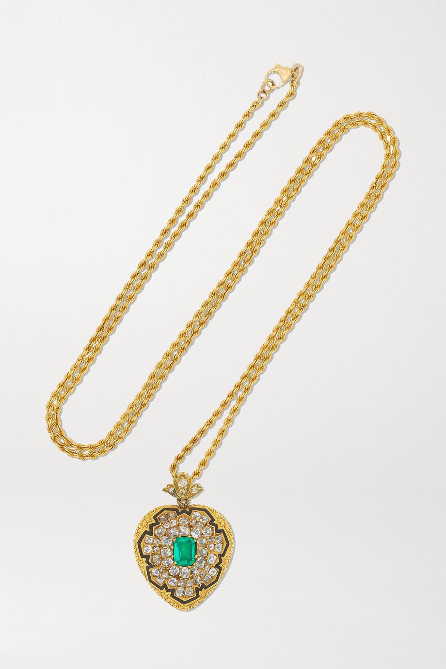 Fred Leighton Antique 18-karat gold, diamond, emerald and enamel necklace