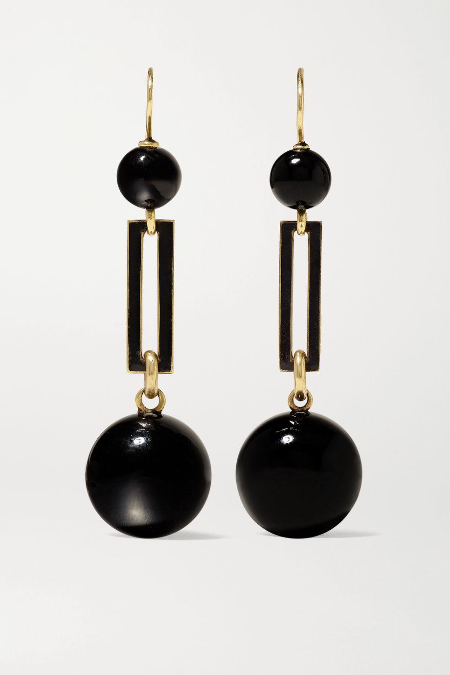 Fred Leighton 1870s 14-karat gold, enamel and onyx earrings