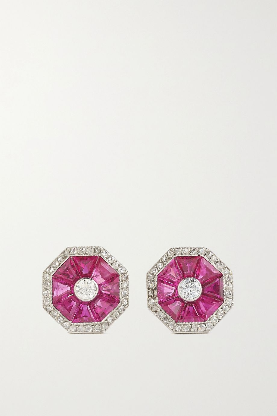 Fred Leighton Collection 14-karat white gold, ruby and diamond earrings