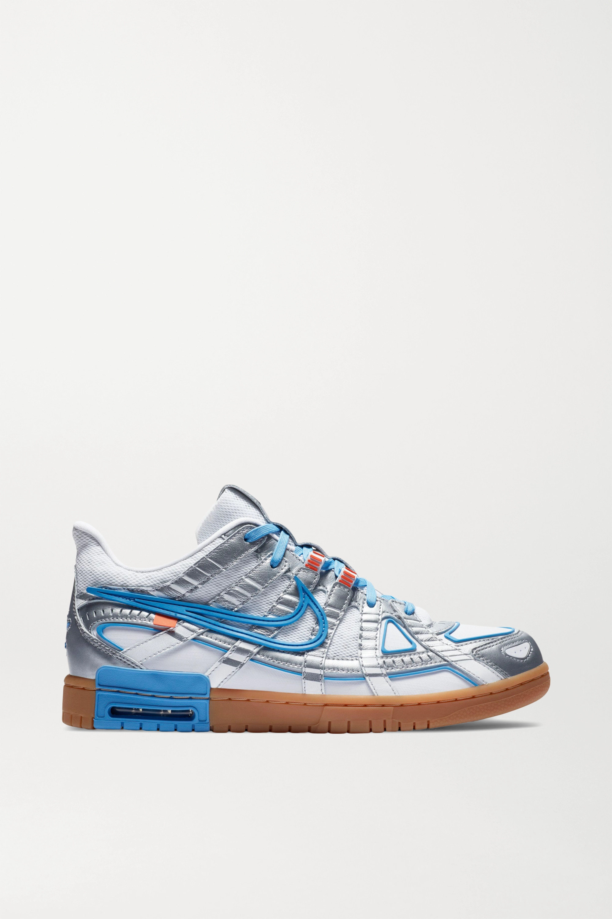 White + Off-White Air Rubber Dunk leather and mesh sneakers   Nike   NET-A-PORTER