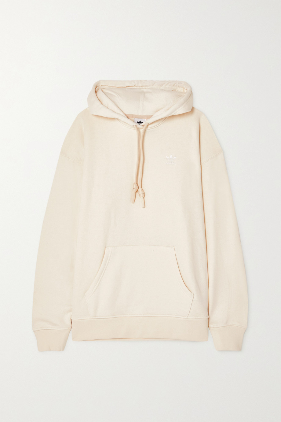 adidas Originals Adicolor embroidered organic French cotton-terry hoodie