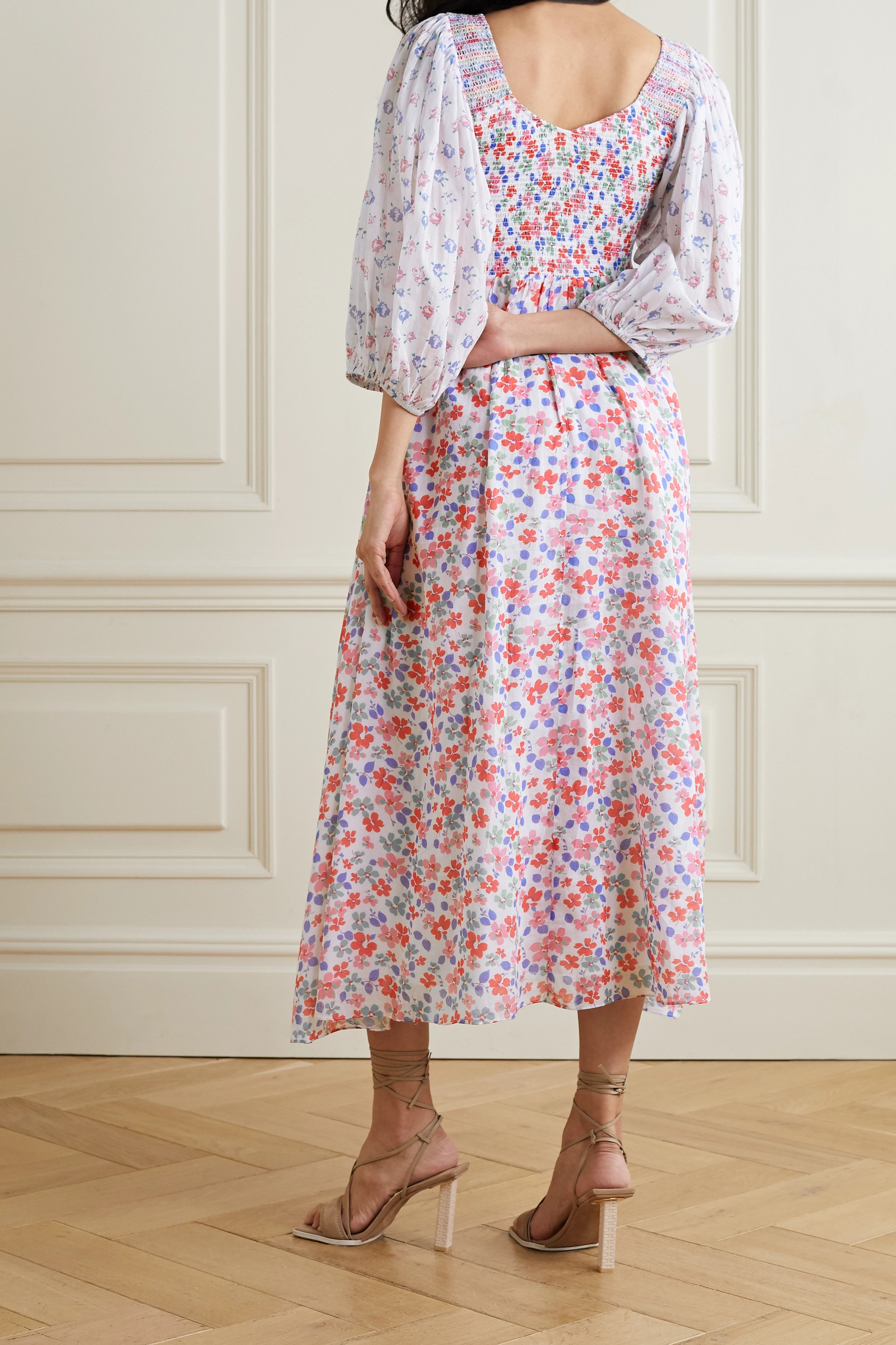 LOVESHACKFANCY Cottons ANALIA SHIRRED FLORAL-PRINT COTTON-VOILE MIDI DRESS