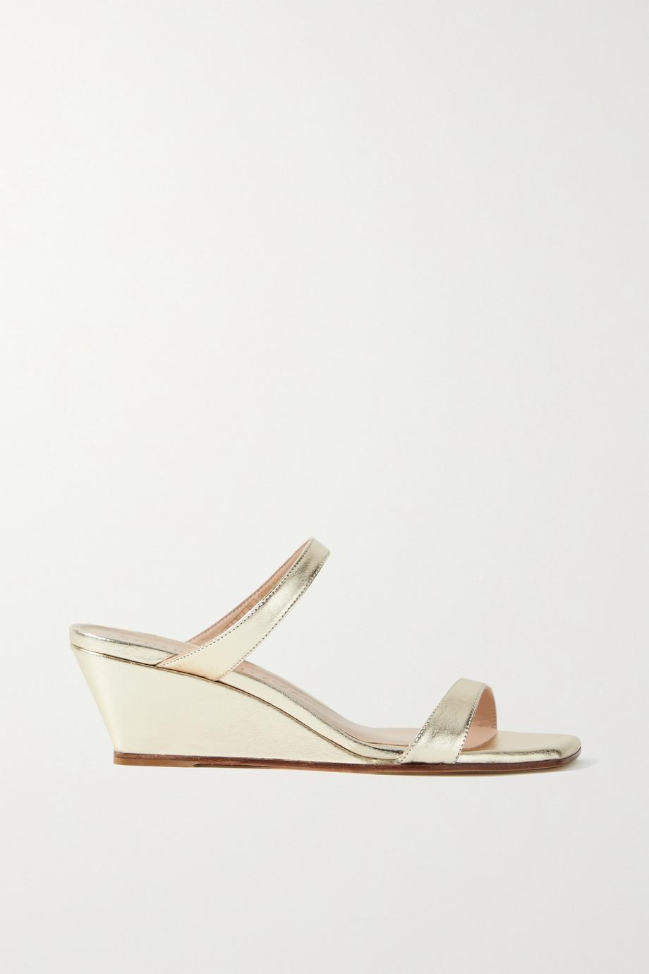 Stuart Weitzman Aleena metallic leather wedge sandals