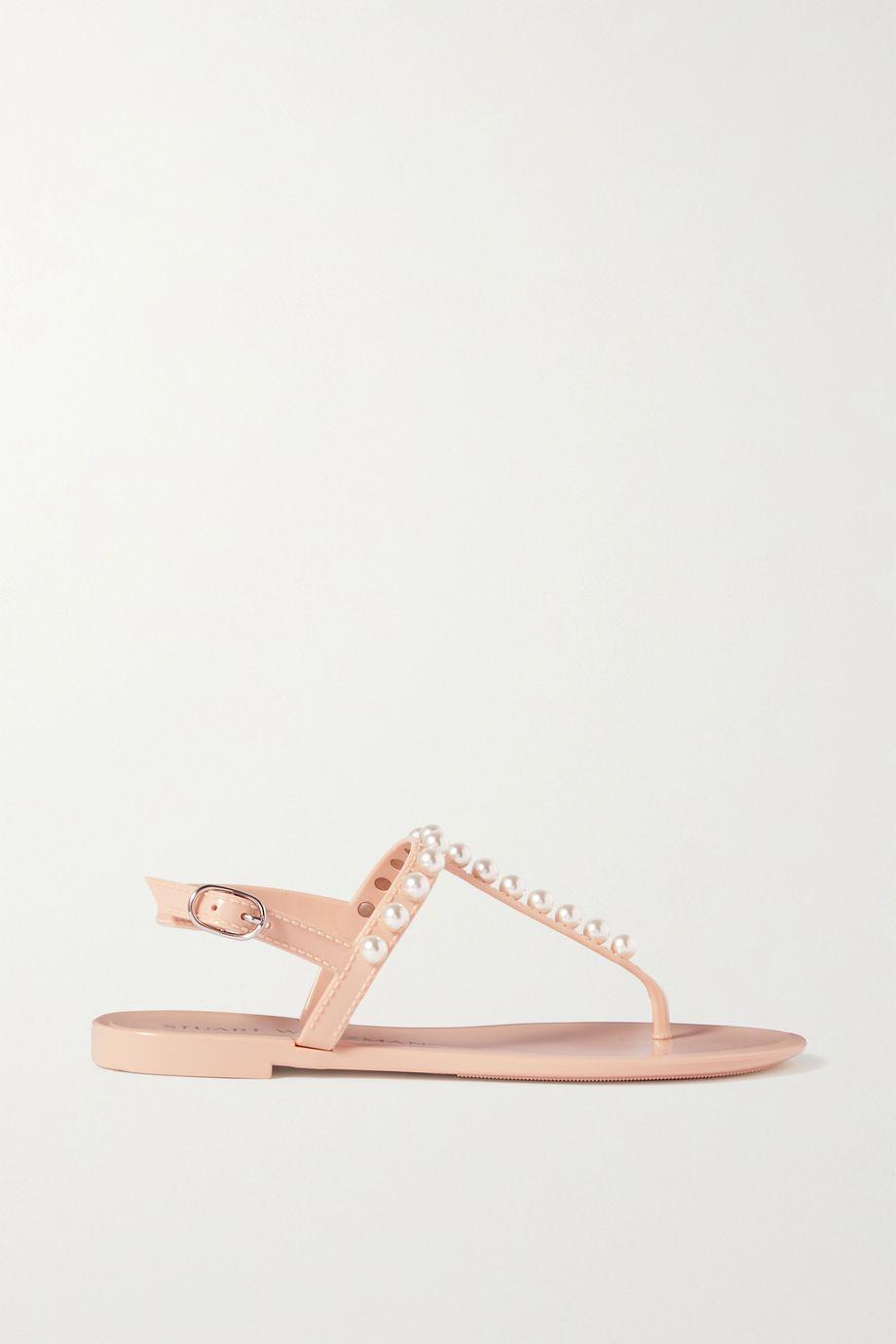 Stuart Weitzman Goldie faux pearl-embellished rubber slingback sandals