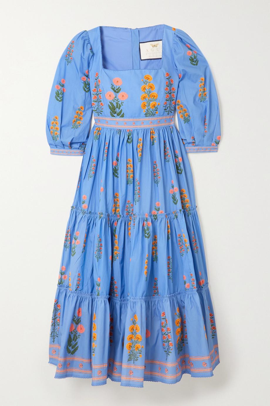 Agua by Agua Bendita Miel tiered floral-print cotton-poplin midi dress