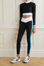 STAUD + New Balance cropped striped stretch top