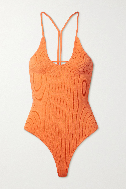 Dodo Bar Or Faye open-back ribbed-knit bodysuit