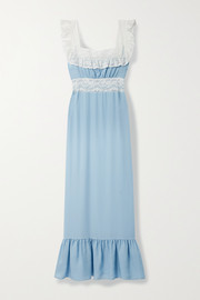 Loretta Caponi Margherita lace-trimmed silk-georgette nightdress