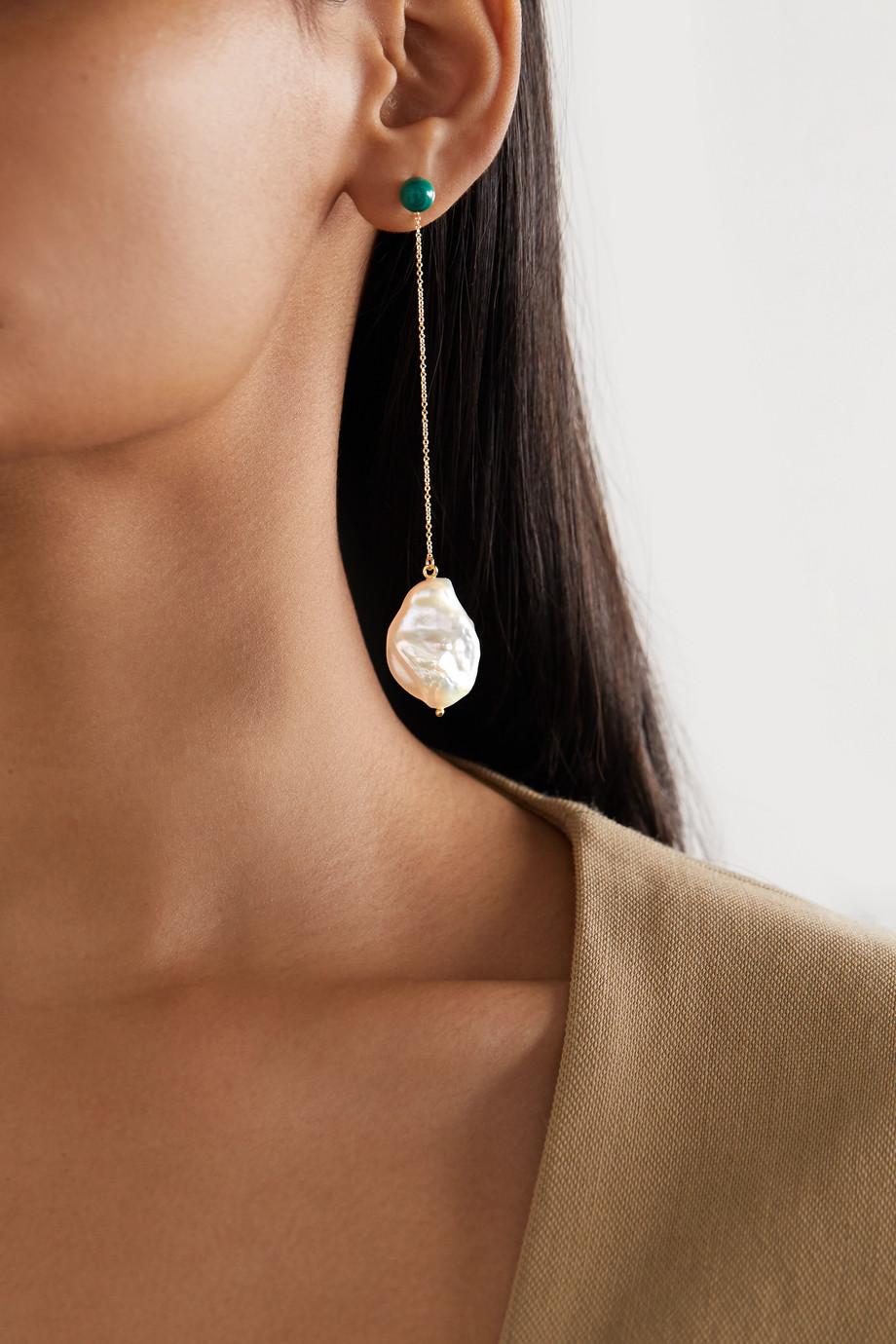 Mateo Duality 14-karat gold pearl and malachite earrings
