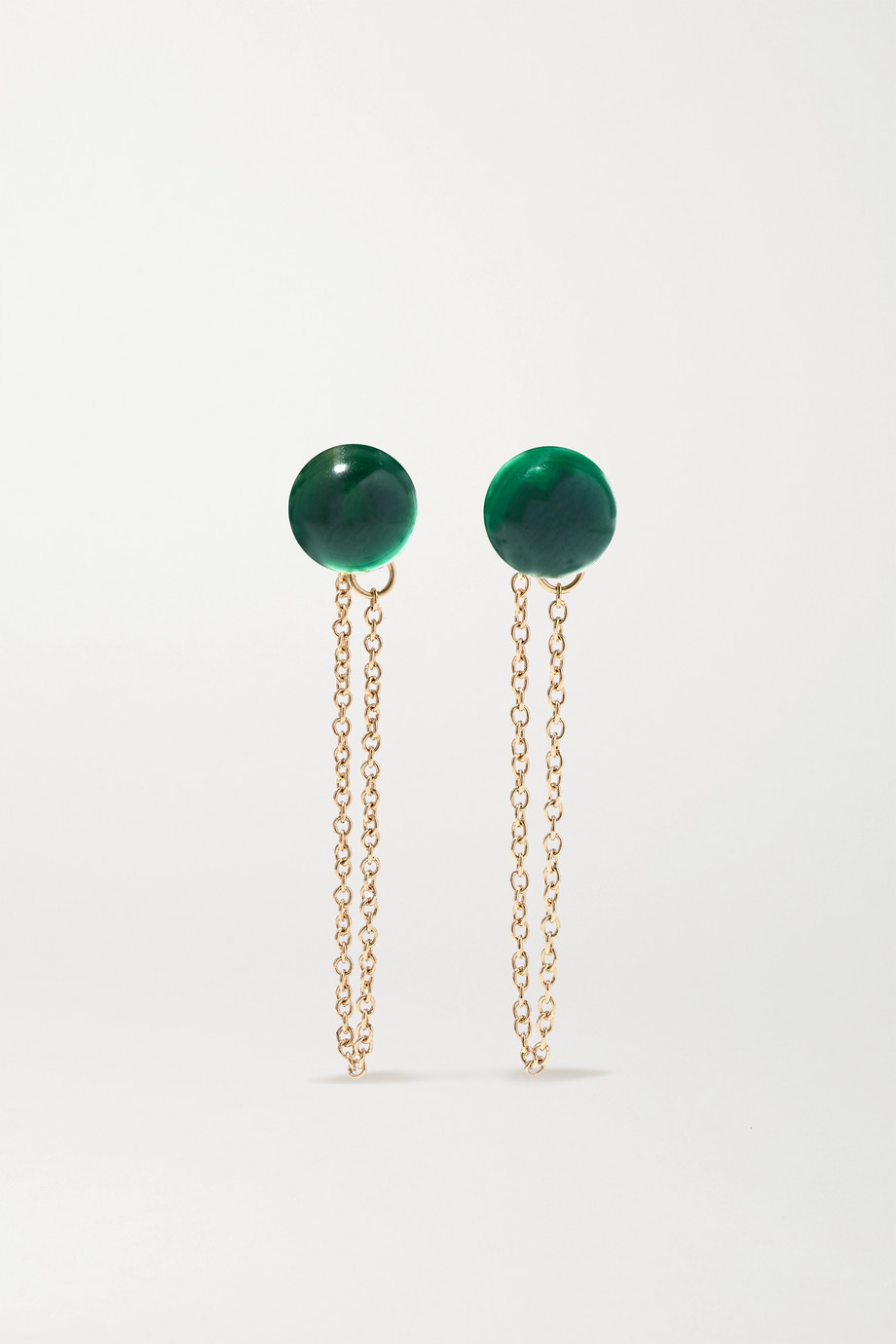 Mateo 14-karat gold malachite earrings