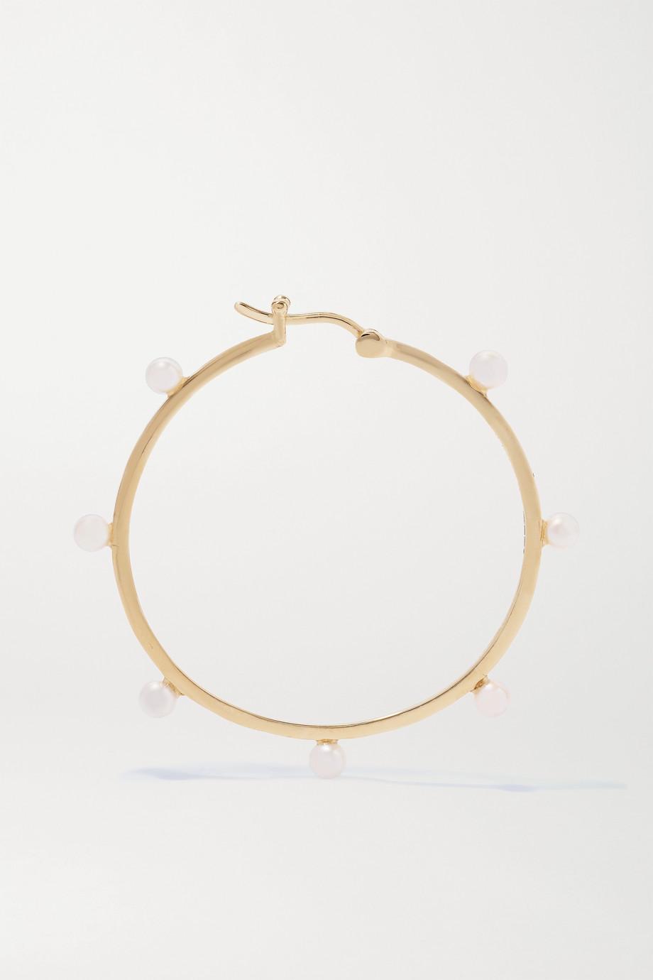 Mateo 14-karat gold pearl hoop earrings