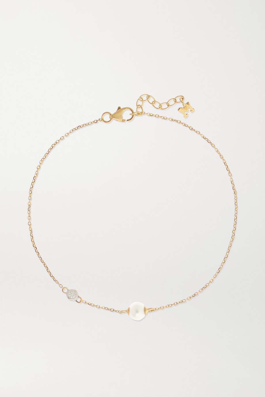 Mateo 14-karat gold, pearl and diamond bracelet