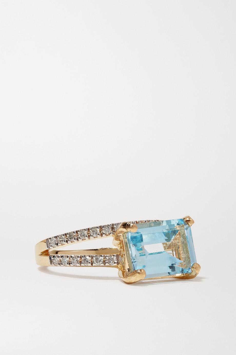 Mateo 14-karat gold, topaz and diamond ring