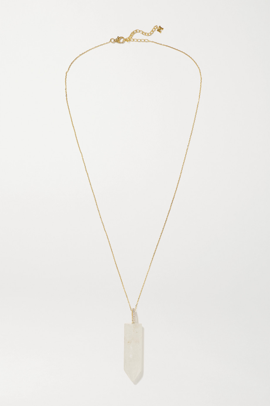 Mateo 14-karat gold, quartz and diamond necklace