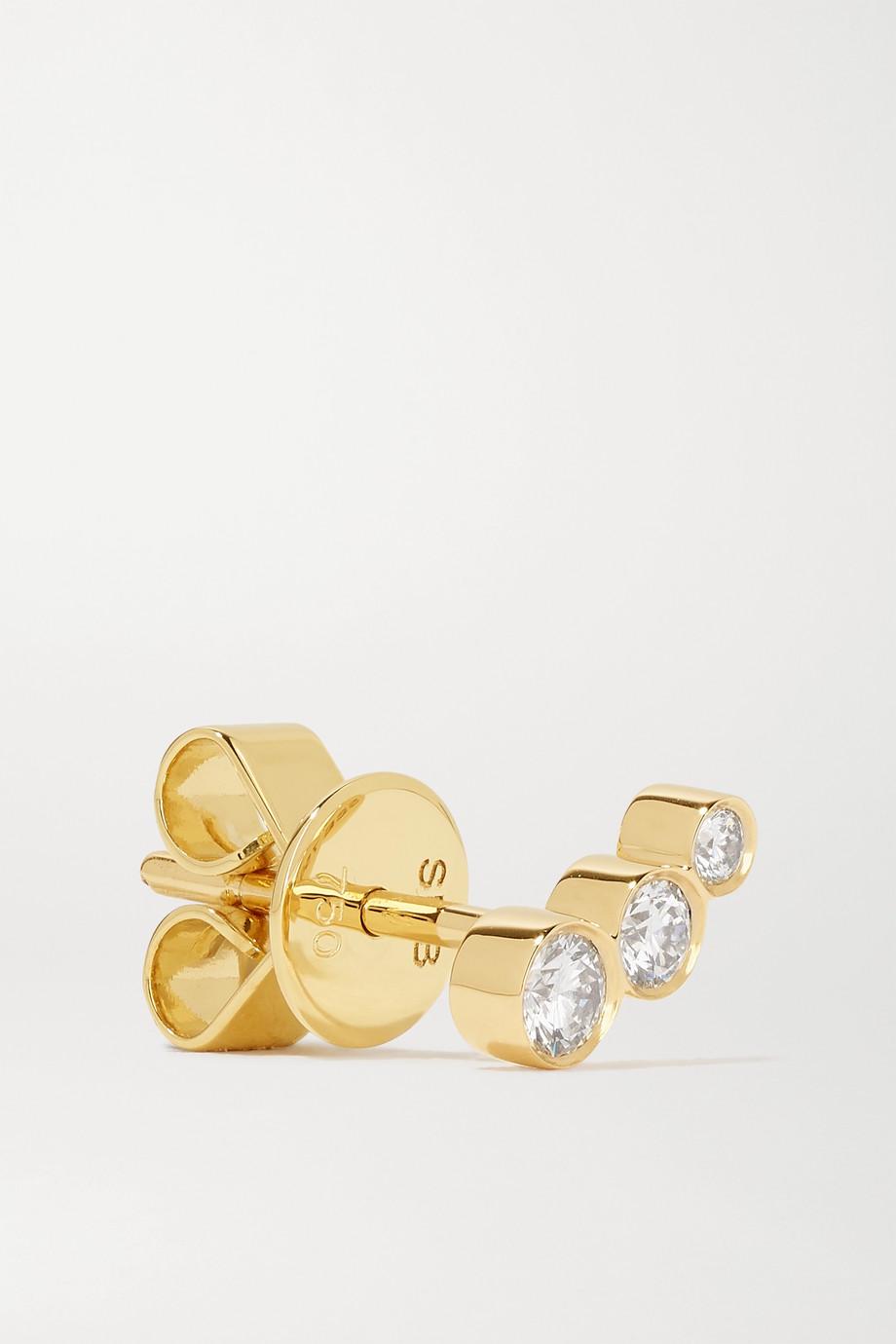 Sophie Bille Brahe Boucle d'oreille en or 18 carats et diamants Croissant Trois