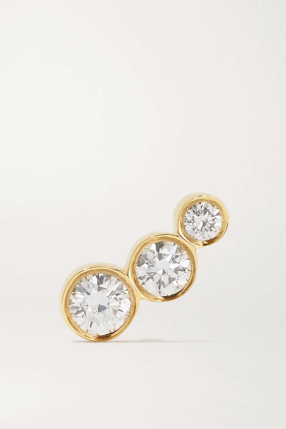 Sophie Bille Brahe Croissant Trois 18-karat gold diamond earring