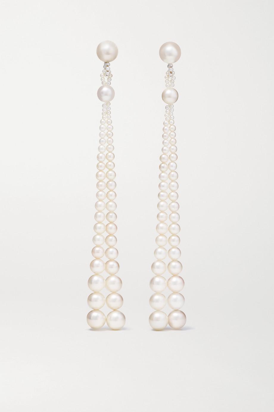 Sophie Bille Brahe Peggy Opera 14-karat gold pearl earrings