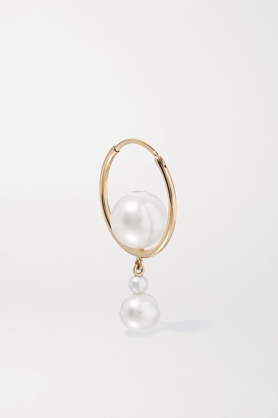 Sophie Bille Brahe Babylon Elipse 14-karat gold pearl hoop earring