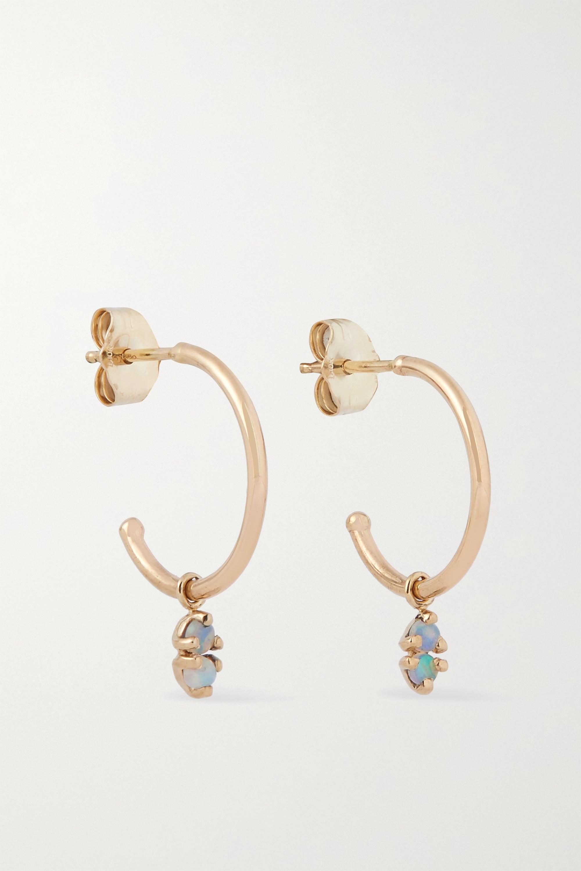 Wwake Creolen aus Gold mit Opalen