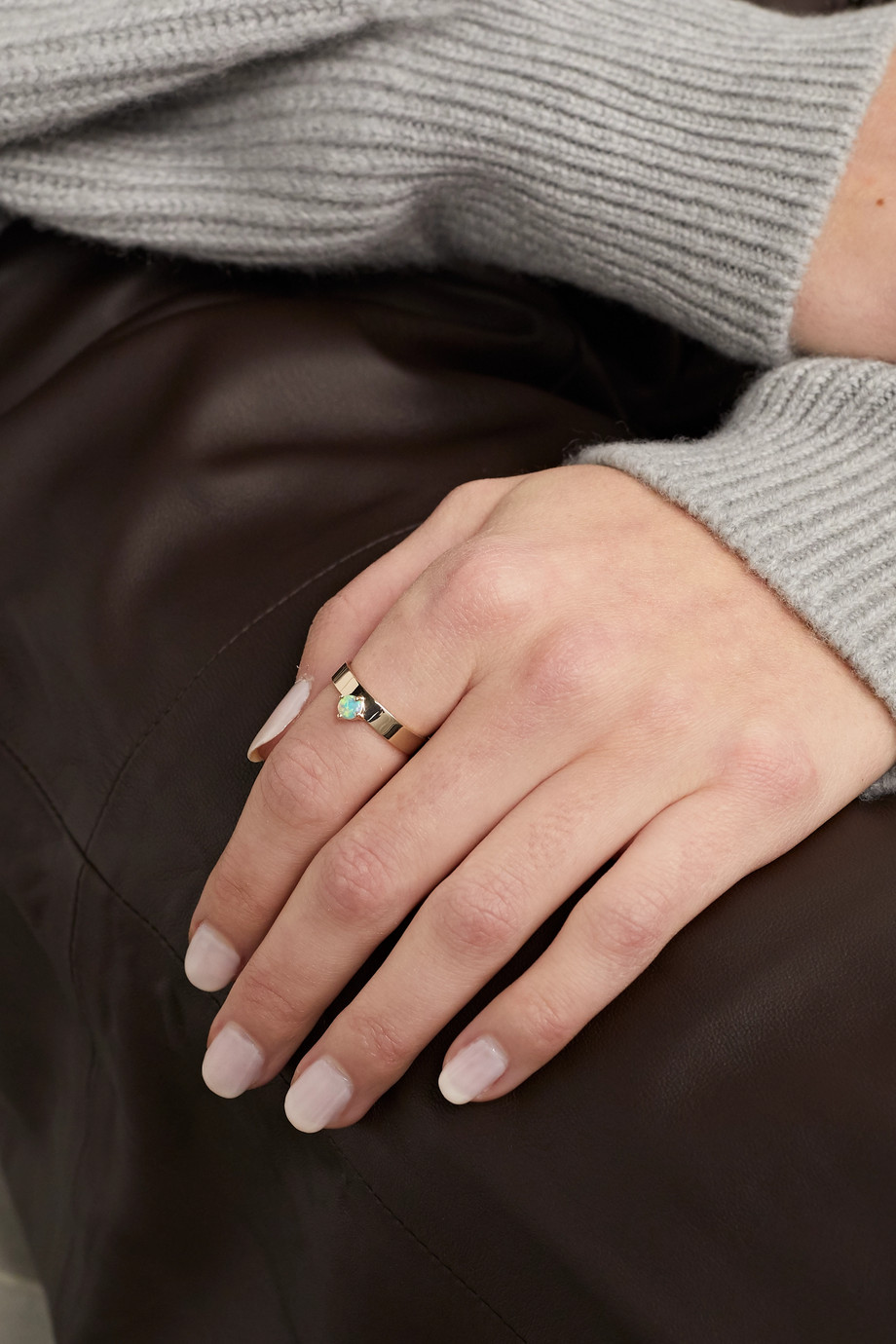 Wwake 14-karat gold opal ring