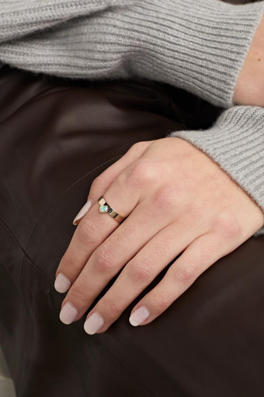 Wwake 14K 黄金蛋白石戒指