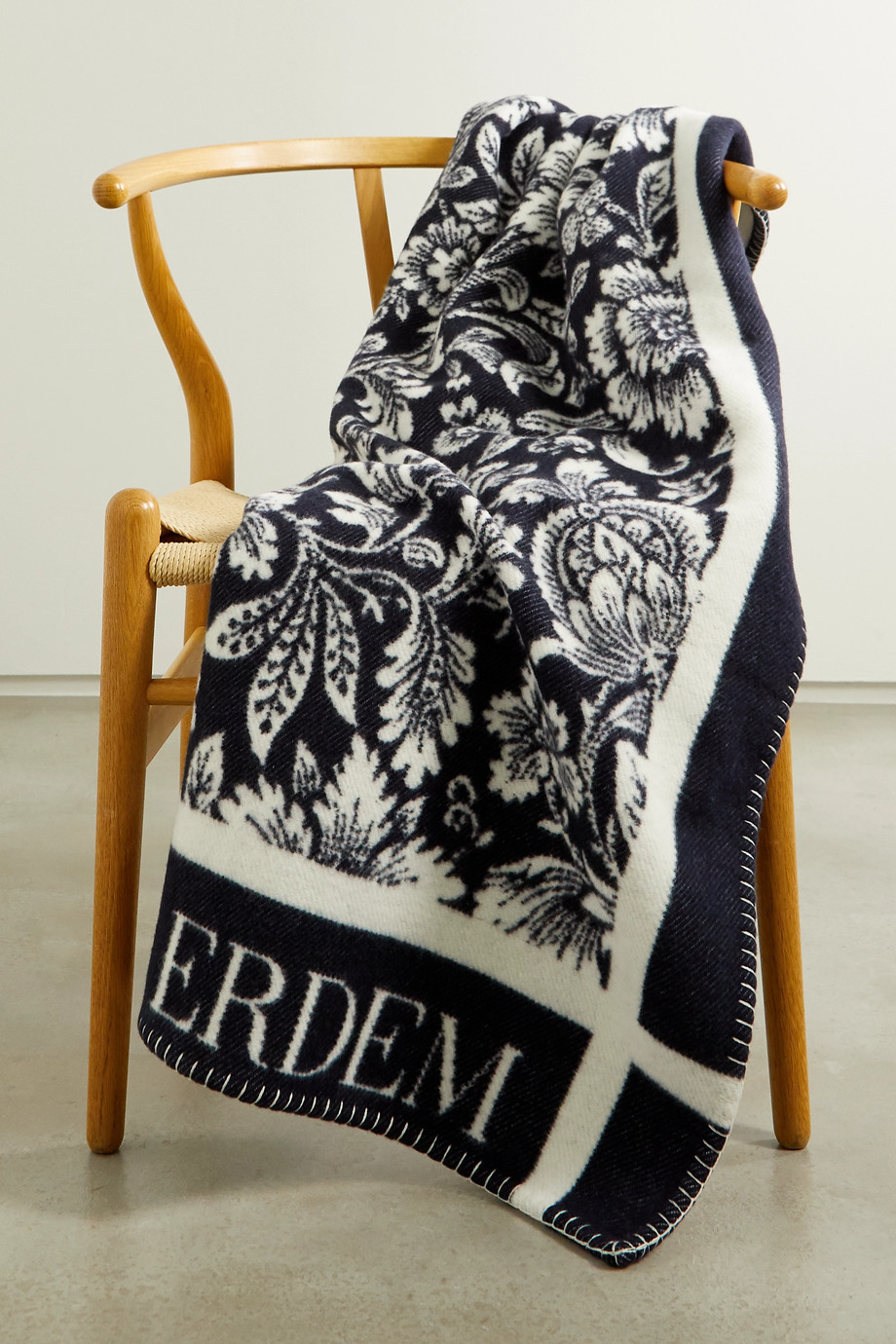 Erdem Intarsia merino wool and cashmere-blend blanket