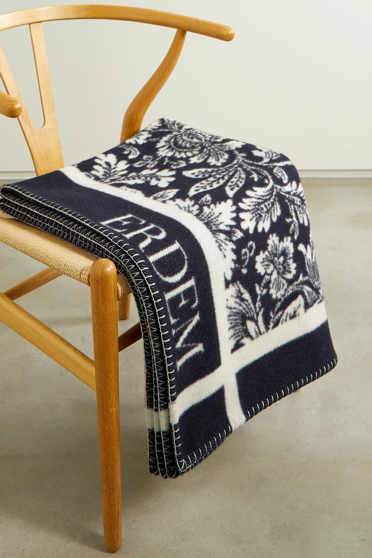 Erdem Intarsia merino wool and cashmere-blend blanket