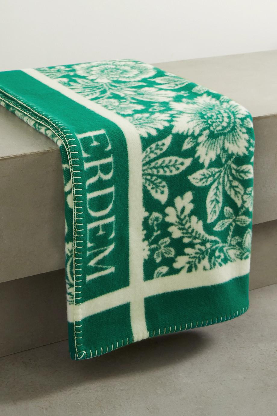 Erdem Decke aus einer Merinowoll-Kaschmirmischung mit Intarsienmuster
