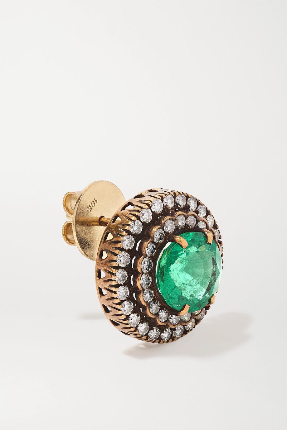 Amrapali 18-karat gold, emerald and diamond earrings