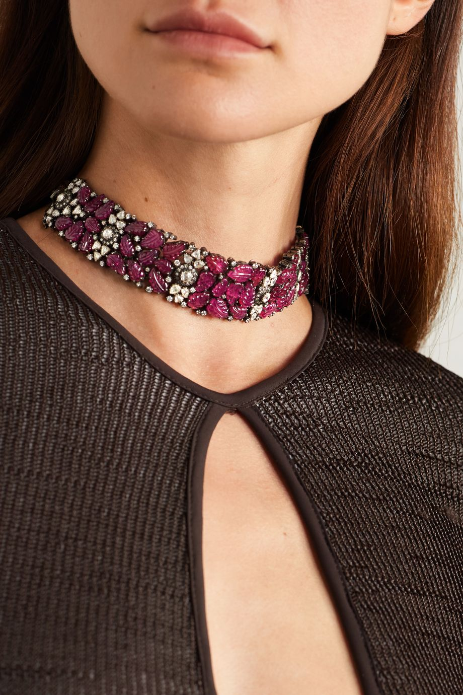 Amrapali Sterling silver and 18-karat gold, ruby and diamond necklace
