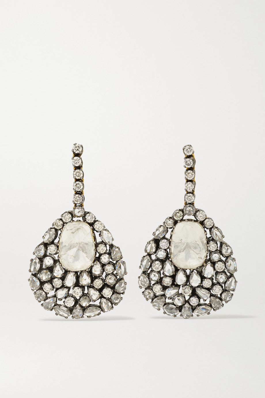Amrapali Sterling silver and 18-karat gold diamond earrings