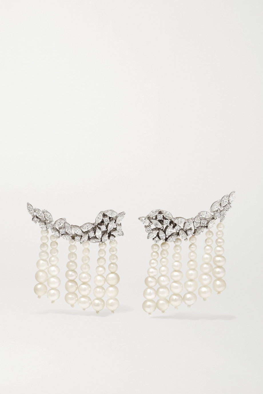 Amrapali 18-karat white gold, pearl and diamond earrings
